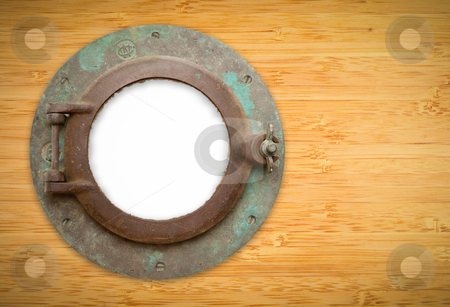 Antique Porthole on Bamboo with Blank Window and Clipping Path stock photo, Antique Porthole on Bamboo Wall with White, Blank Window - Contains Inner Clipping Path. by Andy Dean