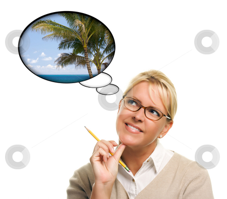 Beautiful Woman with Thought Bubbles of a Tropical Place stock photo, Beautiful Woman with Thought Bubbles of a Tropical Place Isolated on a White Background. by Andy Dean
