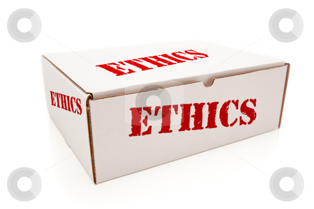 White Box with Ethics on Sides Isolated stock photo, White Box with the Word Ethics on the Sides Isolated on a White Background. by Andy Dean