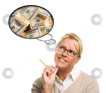 Woman with Thought Bubbles Lots of Money stock photo, Woman with Thought Bubbles of a Stack of Money Isolated on a White Background. by Andy Dean