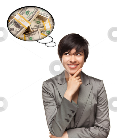 Beautiful Multiethnic Woman with Thought Bubbles of Money Stacks stock photo, Beautiful Multiethnic Woman with Thought Bubbles of Money Stacks Isolated on a White Background. by Andy Dean