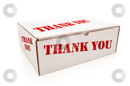 White Box with Thank You on Sides Isolated stock photo, White Box with the Words Thank You on the Sides Isolated on a White Background. by Andy Dean