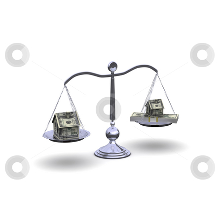 Three-dimensional scale stock photo, Three-dimensional scale with a house and a pack of dollar bills. The symbol of real estate. by Sergey Nivens