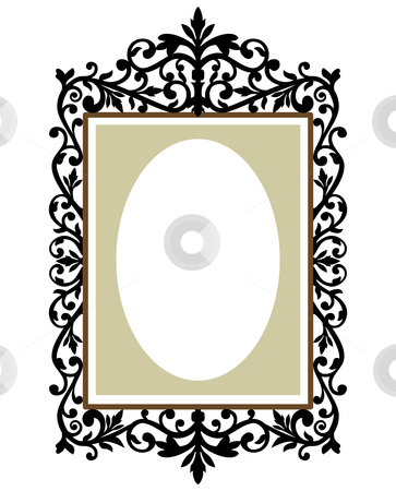 Decorative vintage frame stock vector clipart, Illustration of an ornate and decorative frame on the retro background by Ela Kwasniewski