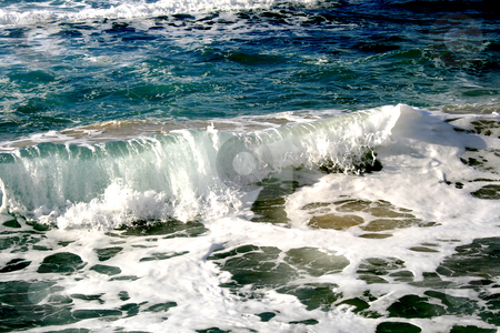 Waves in Mediterranean sea stock photo, Waves in Mediterranean sea, Israel by Tatjana Keisa