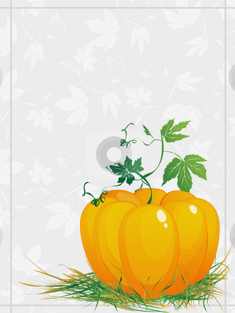 Greeting card for Thanksgiving stock photo, Thanksgiving, ripe  pumpkin  with green leaves and grass, greeting card by Richard Laschon