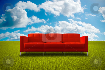 Life in nature stock photo, Comfortable red sofa in a green grass meadow by Giordano Aita