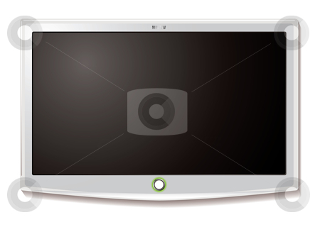 LCD TV Wall hang white stock vector clipart, Modern LCD TV hanging on wall with blank screen by Michael Travers