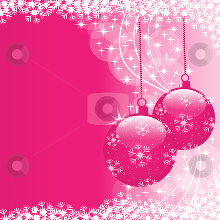 Xmas balls pink stock vector clipart, Christmas scene with hanging ornamental pink xmas balls, snowflakes and stars. Copy space for text. by toots77