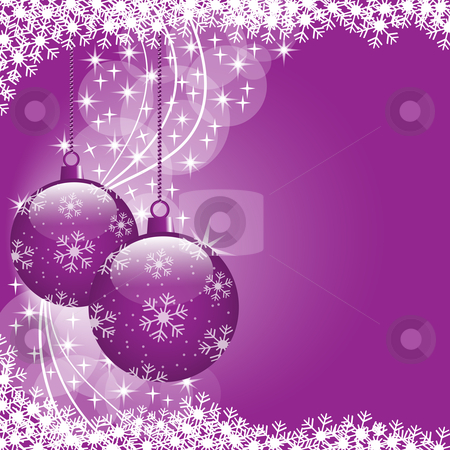 Christmas balls purple stock vector clipart, Christmas scene with hanging ornamental purple xmas balls, snowflakes and stars. Copy space for text. by toots77