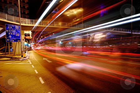 Traffic at night in Hong Kong  stock photo, Traffic at night in Hong Kong. by Keng po Leung