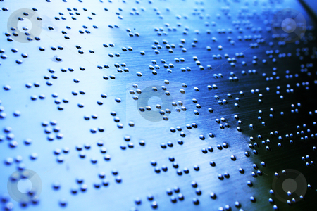 Plain Braille Page Macro with blue toned  stock photo, Plain Braille Page Macro with blue toned . by Keng po Leung