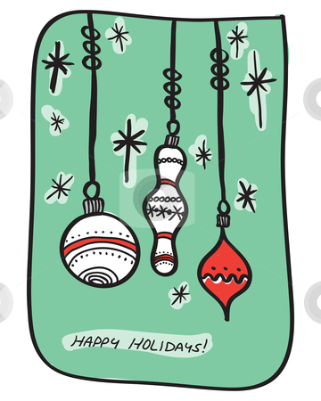 Happy holidays stock vector clipart, Hand-drawn holiday greeting with 