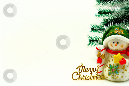 X-mas card stock photo, Cristmas card with snowman and cristmas-tree by Alex Varlakov