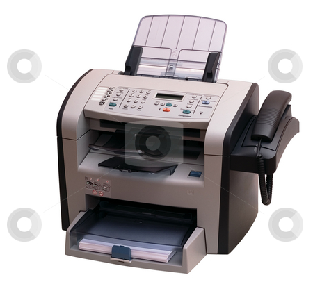 Fax stock photo, The modern multipurpose device: a fax, copier and the scanner. It is accurately isolated without shades on a white background. Studio work. by Alex Varlakov