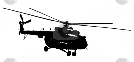 Silhouette helicopter  stock photo, Silhouette helicopter on a light background by Alex Varlakov