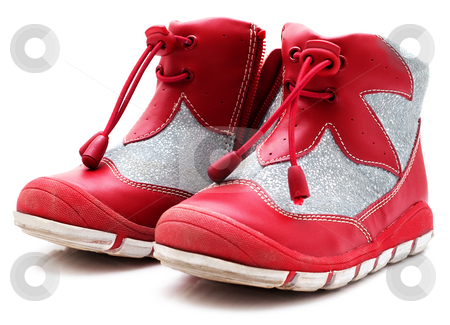 Children's shoe isolated stock photo, Children's shoes. Isolated on a white background by Alex Varlakov