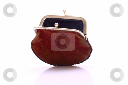 Empty purse stock photo, Empty purse isolated on white background by Alex Varlakov