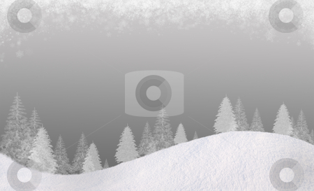 Winter backgound#6 stock photo, Winter Christmas background. In the lower part of the snow-covered hills with silhouettes of spruce trees. At the top of the clouds of snow flakes. Gradient of the cold gray colors. Horizontal composition, for the background is a square track, please see my portfolio. by Alex Varlakov