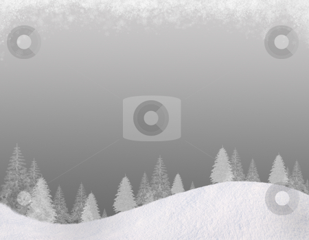 Winter backgound#4 stock photo, Winter Christmas background. In the lower part of the snow-covered hills with silhouettes of spruce trees. At the top of the clouds of snow flakes. Gradient of the cold gray colors. Square composition, for this background there is a horizontal composition, please see my portfolio. by Alex Varlakov