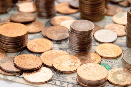 Money stock photo, Piles of coins. The concept of cash, savings, finance and business by Alex Varlakov