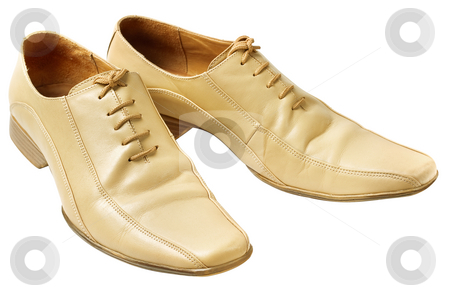 Mans beige shoes isolated stock photo, Mans beige shoes isolated without shadows on white background by Alex Varlakov