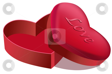 Heart shape box stock photo, Illustration drawing of beautiful red heart shape box by Su Li