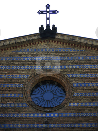 Heilandskirche-gable stock photo, Gable of the Church of the Redeemer in Sacrow near Berlin, Germany by Heike Jestram