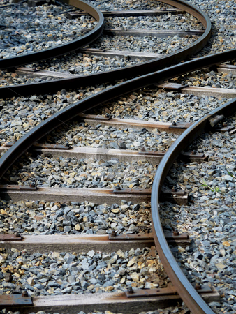 Bow rail stock photo, Curved rails of a train for children by Heike Jestram