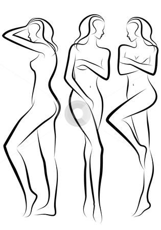 Woman body, vector stock vector clipart, Female body silhouettes, vector sketch by Beata Kraus