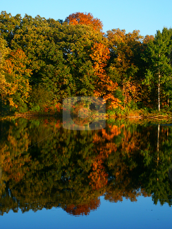Kettle Moraine - Wisconsin stock photo, Beautiful fall colors reflect off a pond at Kettle Moraine State Forest in Wisconsin. by Jason Ross