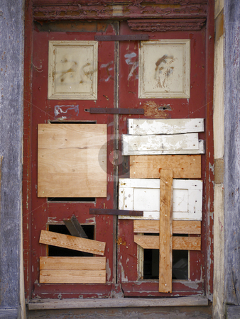 Door-blocked up and nailed stock photo, Door in an old house - blocked up and nailed by Heike Jestram
