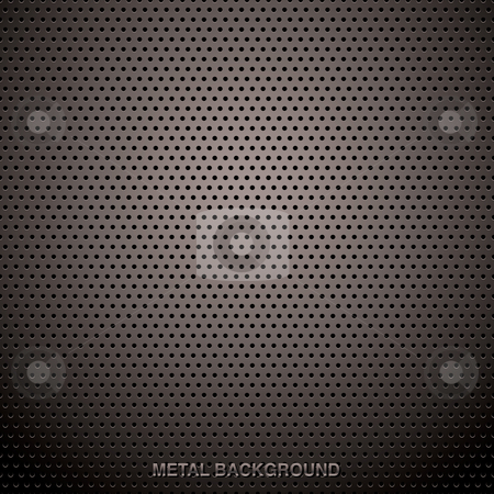 Metal grid background stock vector clipart, Abstract metal grill background with holes and ideal web page backdrop by Michael Travers