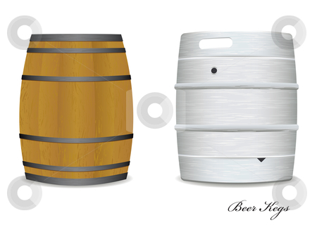 Beer keg barrel pair stock vector clipart, Two new and old beer kegs with wood and metal version by Michael Travers