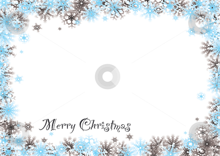 Merry christmas snow blind stock vector clipart, Modern snow white christmas background with flakes border by Michael Travers