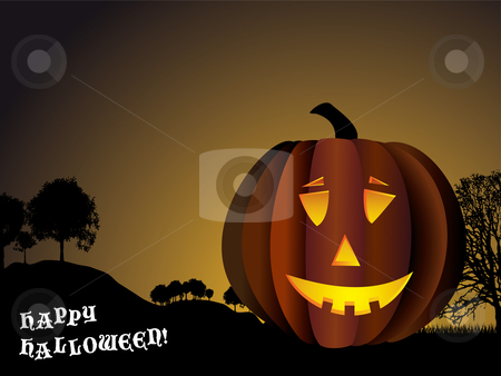 Happy Halloween stock vector clipart, Halloween background with pumpkin and spooky trees in silhouette by Michael Travers