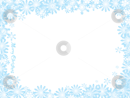 Snowflake christmas white night stock vector clipart, Christmas inspired snow flake background with blue ice frame by Michael Travers