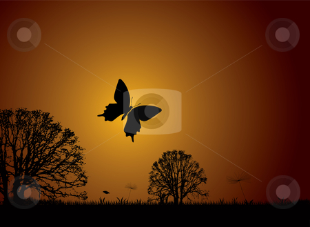 Sunset nature butterfly stock vector clipart, Sunset nature scene with butterfly and silhouette trees by Michael Travers