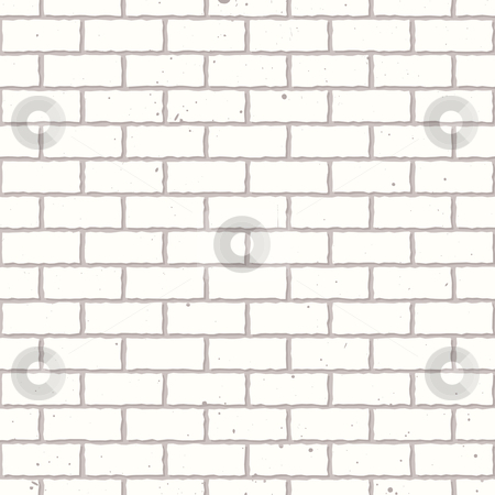 White seamless brick wall stock vector clipart, White seamless brickwall with repeating pattern design grunge by Michael Travers