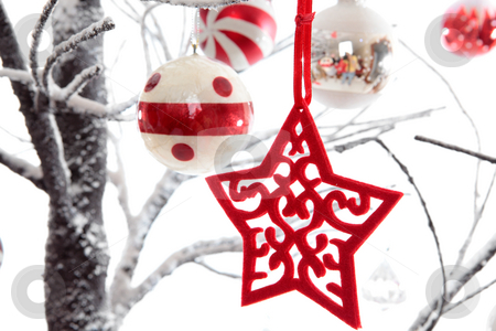 Christmas decorations stock photo, Christmas decorations dangling from snow covered branches.  White background by Leah-Anne Thompson