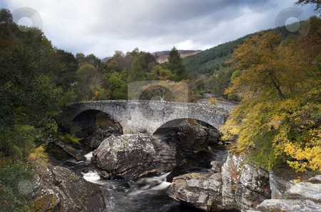 Old Invermoriston Bridge stock photo, The Falls and Old Invermoriston Bridge On An Autumns Day by Karen Appleyard