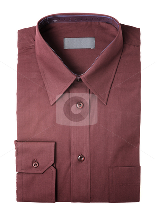 New shirt stock photo, Dark red men's dress shirt folded on white by Stocksnapper 