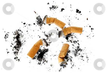 Cigarette butts stock photo, Cigarette butts on white background by Stocksnapper
