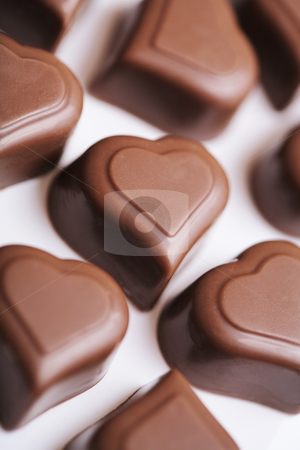Chocolates stock photo, Heart shaped valentine's day chocolates by Stocksnapper