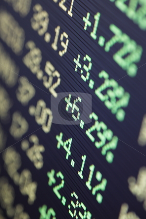 Bull market stock photo, Positive financial stock data on a LCD screen by Stocksnapper