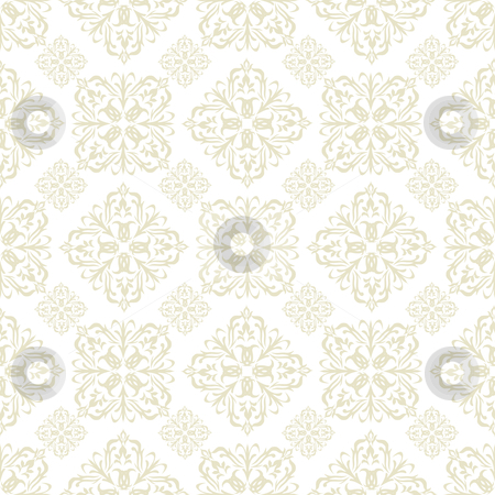 Floral wallpaper beige tile stock vector clipart, Beige seamless wallpaper pattern design in brown and white by Michael Travers
