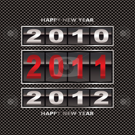 2011 carbon fiber change stock vector clipart, Happy new 2011 year change with modern carbon fiber background by Michael Travers