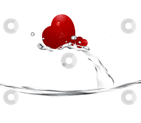 Love Illustration stock vector clipart, Valentine's Day Concept, two hearts up of splash water. by Nabeel Zytoon