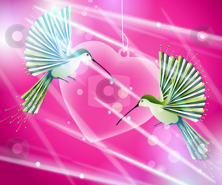 hummingbirds flying around pink heart stock vector clipart, Valentine Illustration, two hummingbirds flying around pink heart by Nabeel Zytoon