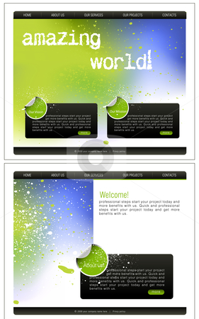 Website Template stock vector clipart, Website Template, easy to use in adobe Photoshop, Flash or Illustrator to export it to HTML format, just edit or replace text and add your sub pages. by Nabeel Zytoon